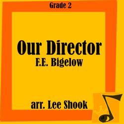 """Our Director"" - composed by Lee Shook,  Performance Level = Grade 2.  Band sheet music downloadable instantly in PDF format.  Cost = $ 24."