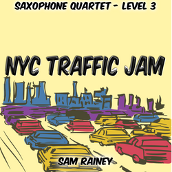 """NYC Traffic Jam"" - composed by Sam Rainey,  Performance Level = Ensemble - Woodwind.  Band sheet music downloadable instantly in PDF format.  Cost = $ 15."