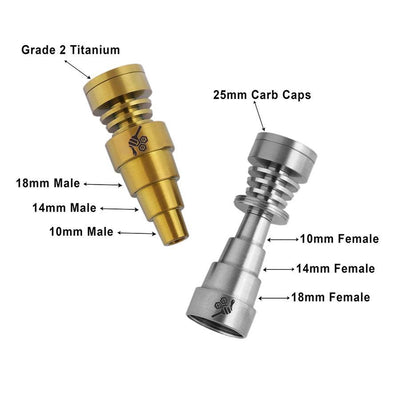 Honeybee Herb Titanium 6-in-1 Skillet Dab Nail Universal 6-in-1 Connection Grade 2 Titanium Fits 10mm, 14mm, 18mm Joints Compatible with Male & Female Joints Compatible with Most 25mm Carb Caps Butane Torch Recommended