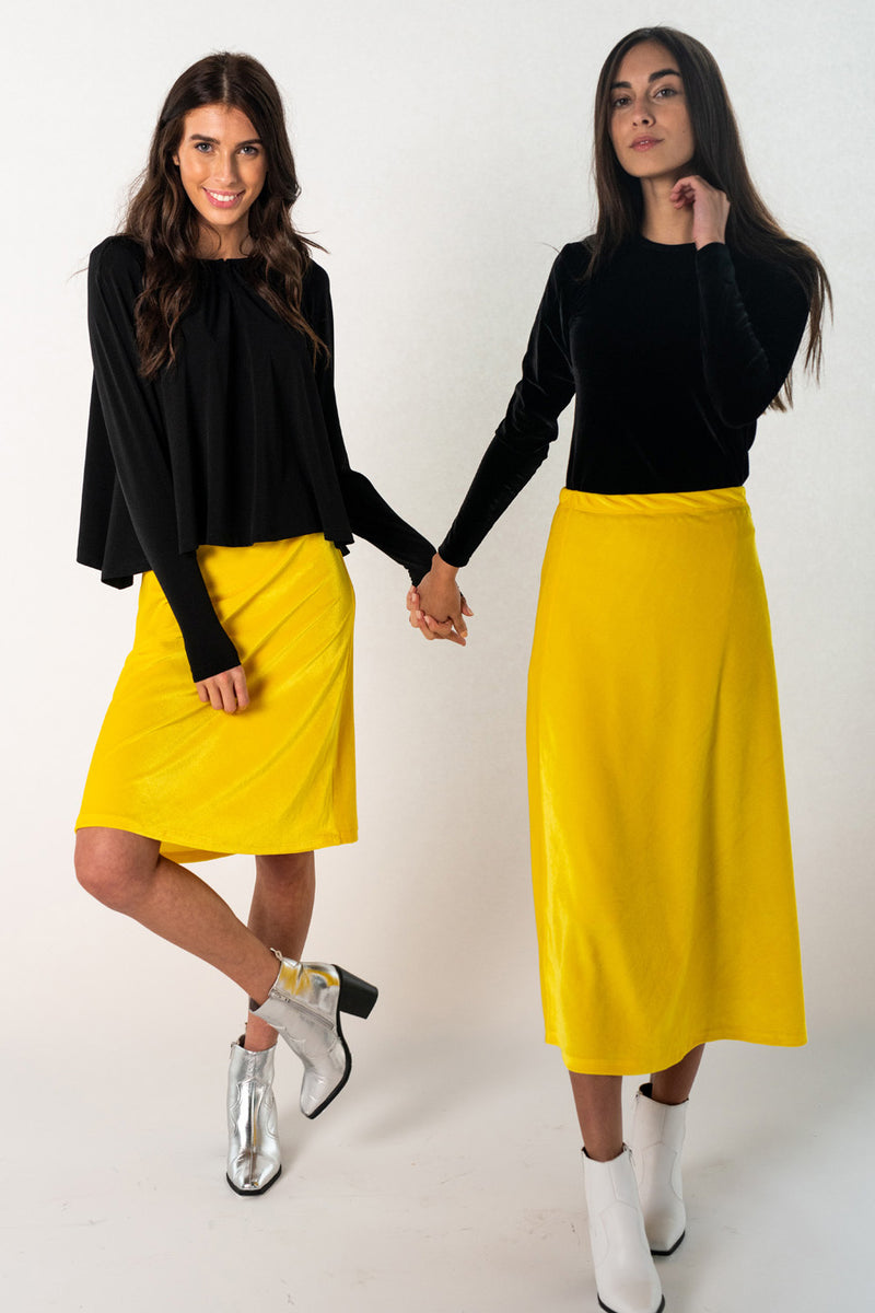 Velvet Slip Skirt - Lemon Yellow