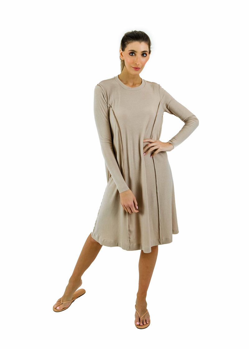Ribbed Tidal Dress- Nude