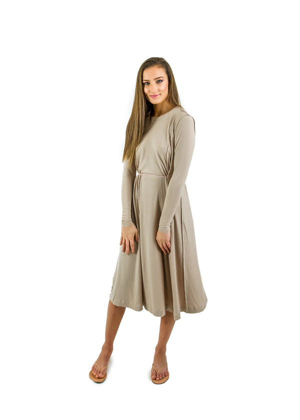 Ribbed Tidal Tall- Nude