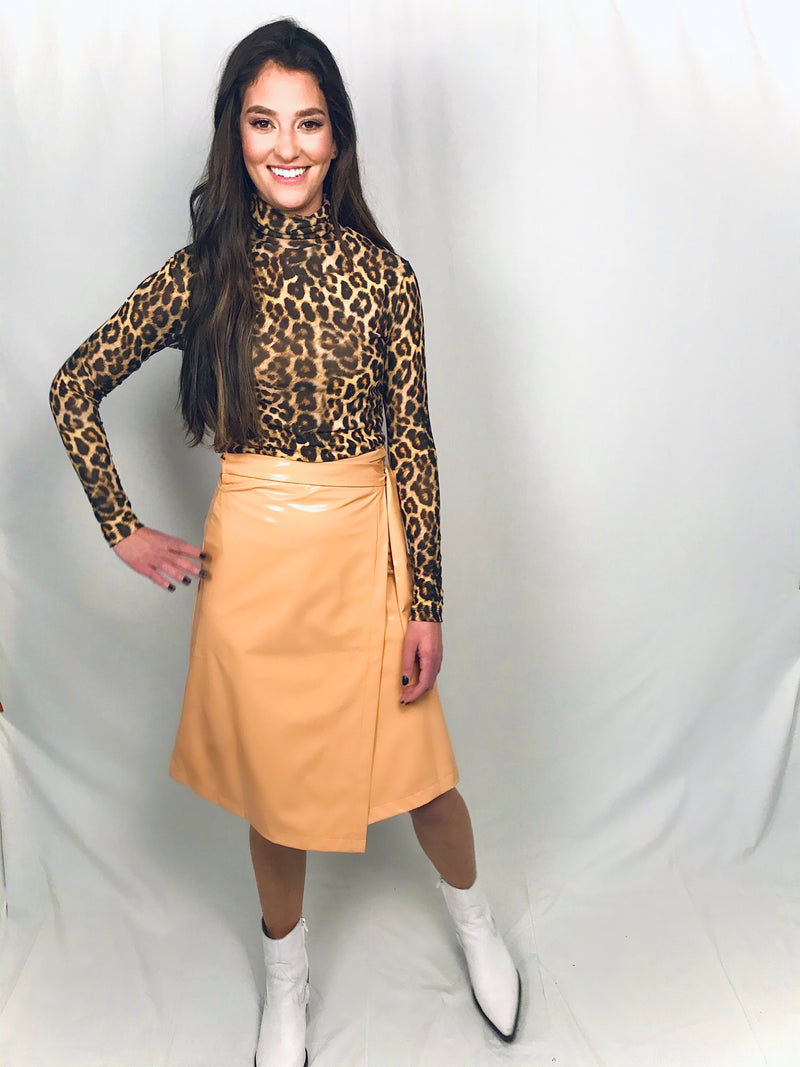 Camel Vinyl Wrap Skirt