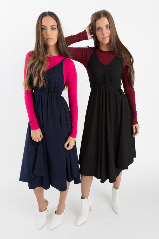Ribbed Slip Swing Dress Navy