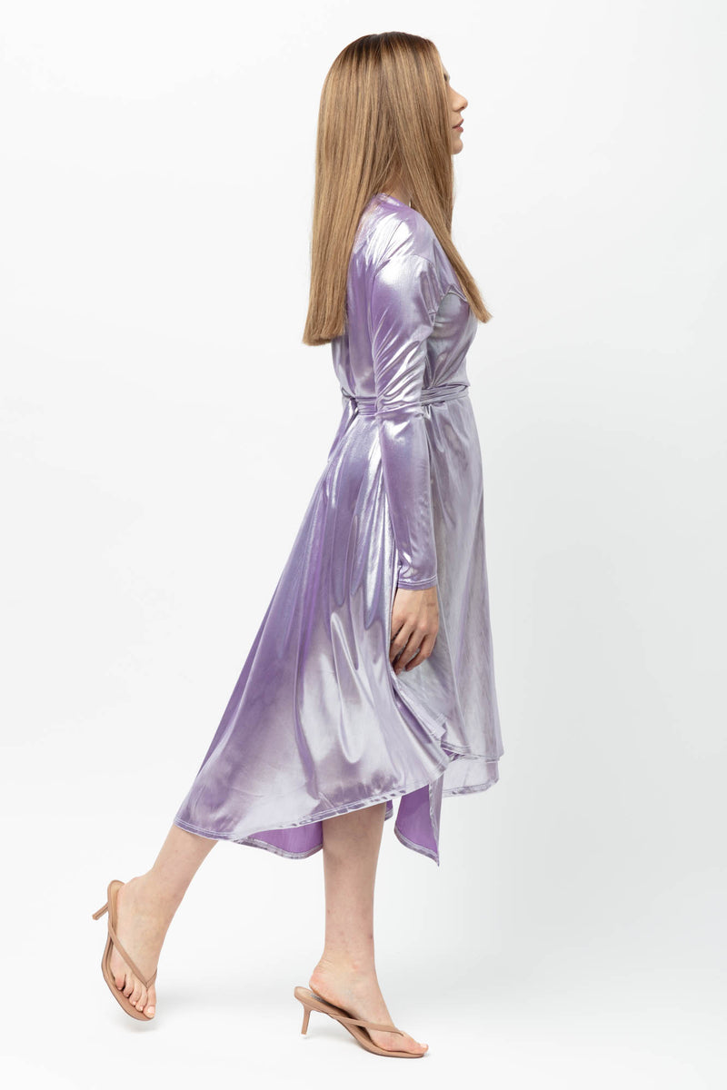 Lilac Lame CALI Wrap Dress