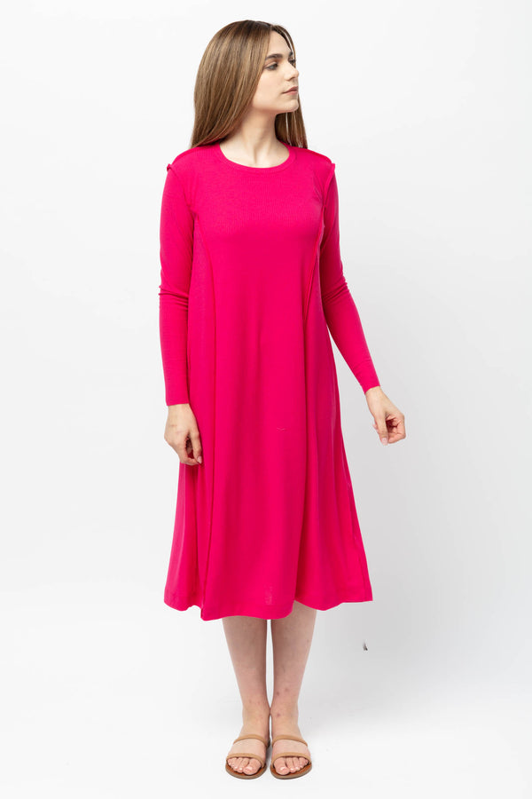 Fuschia Ribbed TIDAL Dress Tall