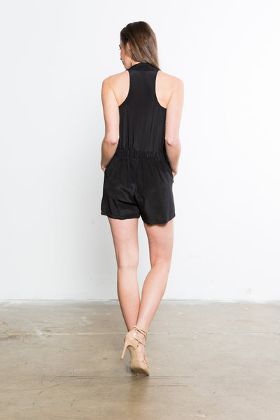 Silk Pin Tuck Playsuit