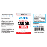 cbdMD Oil Tincture 1500mg/30ml Natural