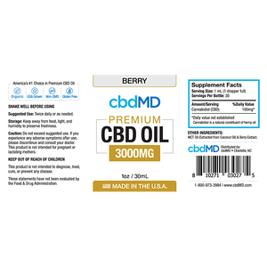 cbdMD Oil Tincture 3000mg/30ml Berry