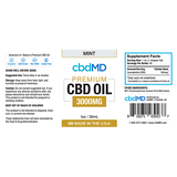 cbdMD Oil Tincture 3000mg/30ml Mint