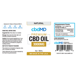 cbdMD Oil Tincture 3000mg/30ml Natural