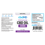 cbdMD Oil Tincture 300mg/30ml Natural