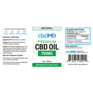 cbdMD Oil Tincture 750mg/30ml Natural