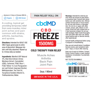 cbdMD CBD Freeze Cold Therapy Pain Relief Roll On 1500mg/90ml