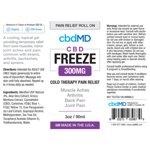 cbdMD CBD Freeze Cold Therapy Pain Relief Roll On 300mg/90ml