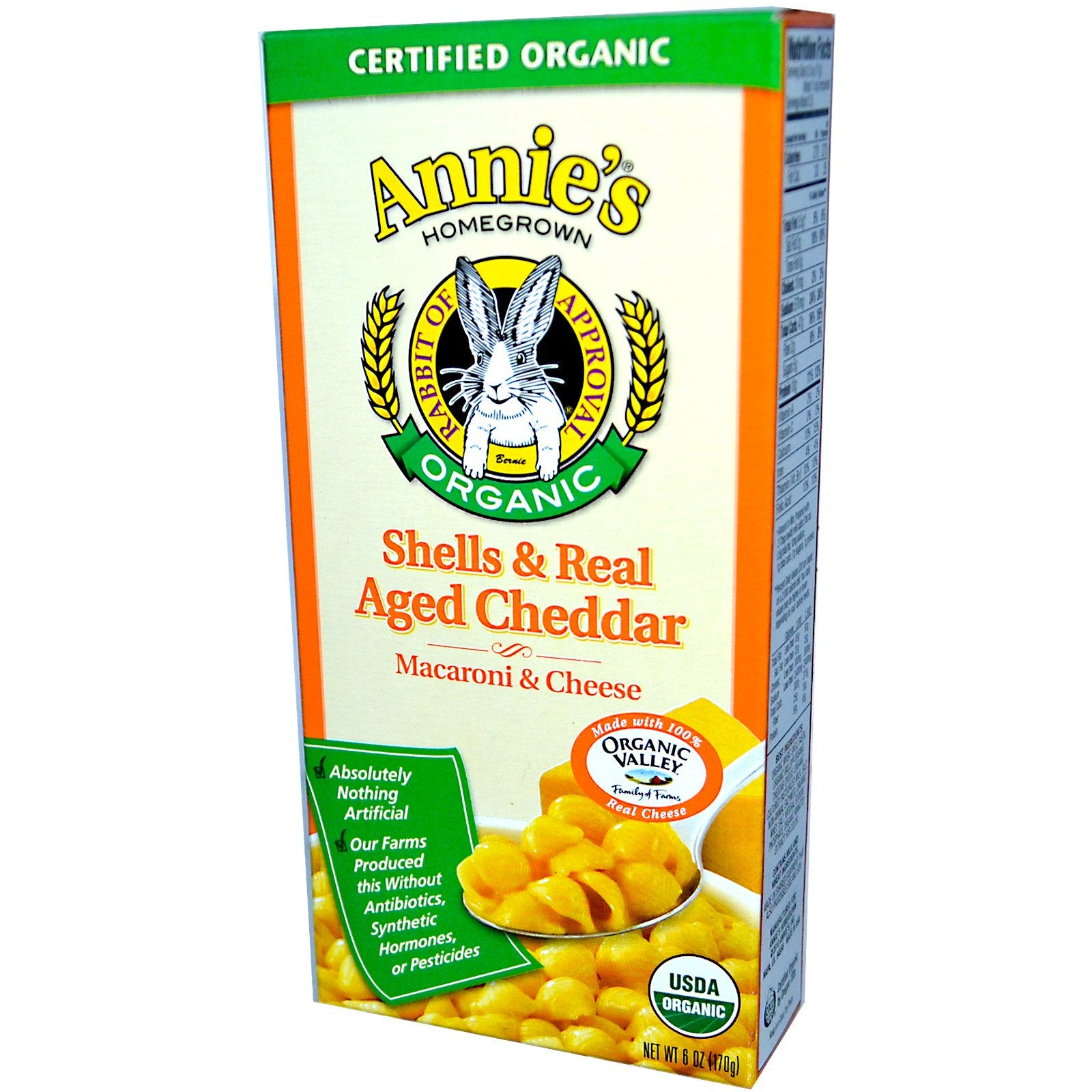 Annie's Homegrown Organic Macaroni & Cheese - Shells & Real-Aged Wisconsin Cheddar, 170g.