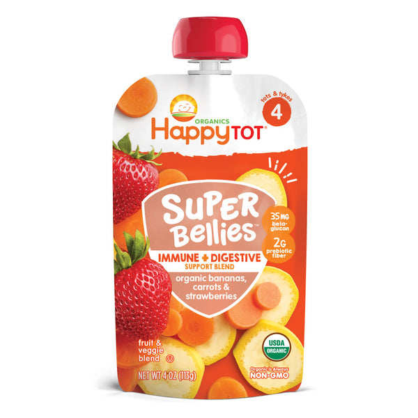 Happy Family Happy Tot Super Bellies- Bananas, Carrots & Strawberries, 113g.
