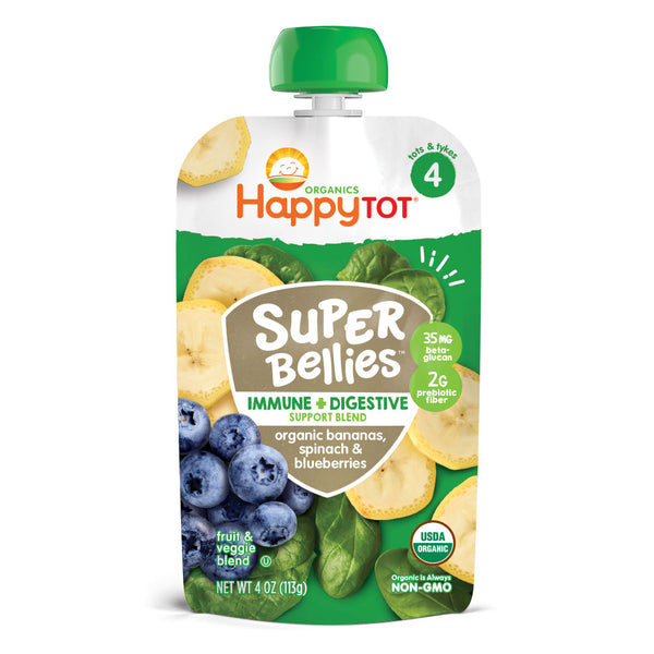 Happy Family Happy Tot Super Bellies- Bananas, Spinach & Blueberries, 113g.