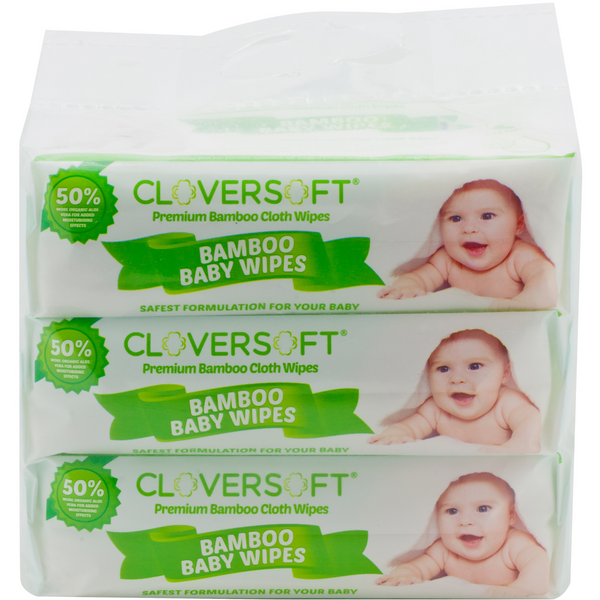 CloverSoft Unbleached Bamboo Pure Water Baby Cloth Wipes, 3 x 70 sheets
