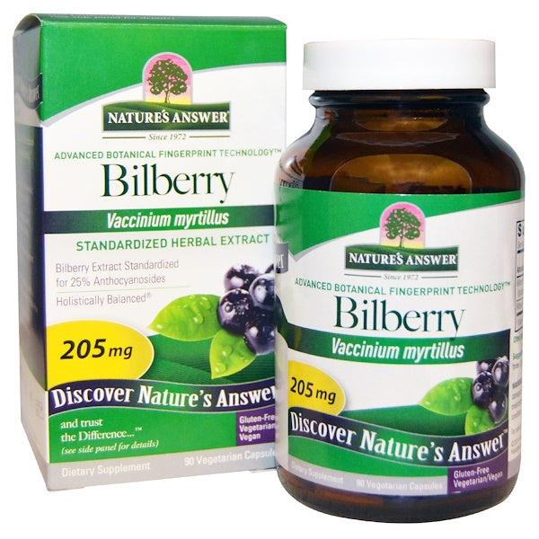 Nature's Answer Bilberry Standardized Herbal Extract 205 mg 90 vcaps.