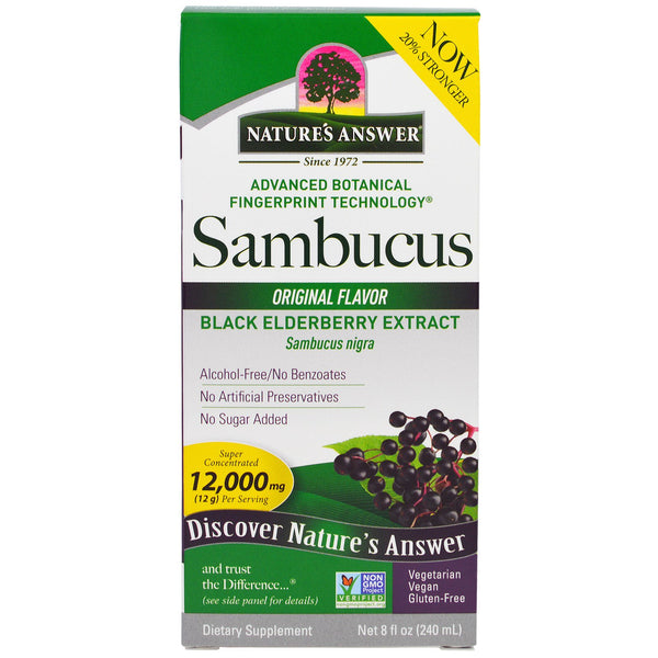 Nature's Answer Sambucus Black Elder Berry Extract (Alcohol-Free), 240 ml.