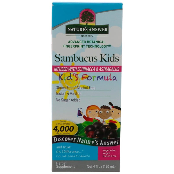 Nature's Answer Sambucus Kids Infused w/Echinacea & Astragulas  - Kid's Formula, 120ml.