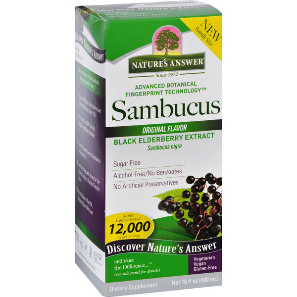 Nature's Answer Sambucus Black Elder Berry Extract (Alcohol-Free), 480 ml.