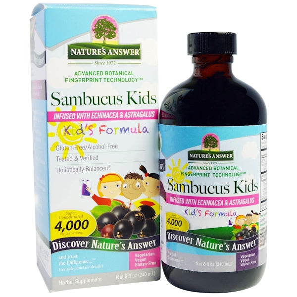 Nature's Answer Sambucus Black Elder Berry Extract (A/F) - Kids' Formula, 240ml.-NaturesWisdom