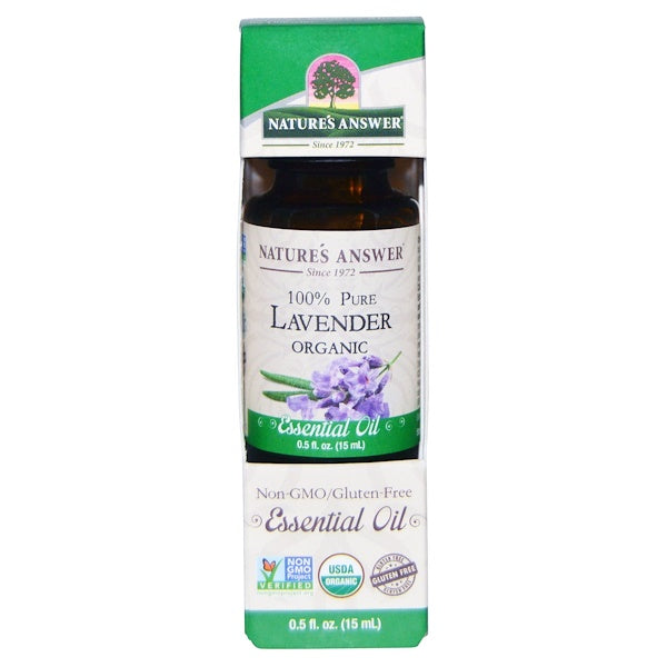 Nature's Answer Organic Essential Oil 100% Pure Lavender, 15 ml.-NaturesWisdom