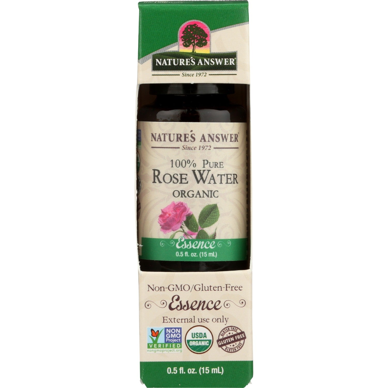 Nature's Answer Organic Essential Oil 100% Pure Rosewater, 15 ml.-NaturesWisdom