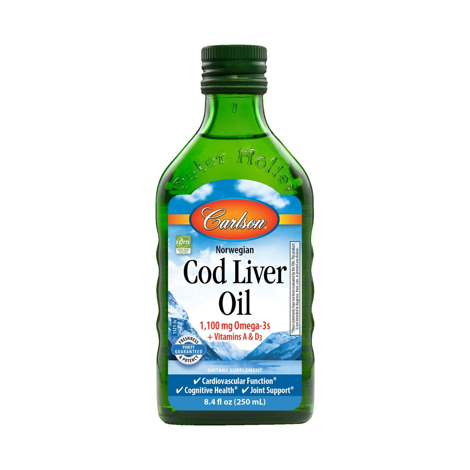 Carlson Norwegian Cod Liver Oil- Unflavoured, 250ml.-NaturesWisdom