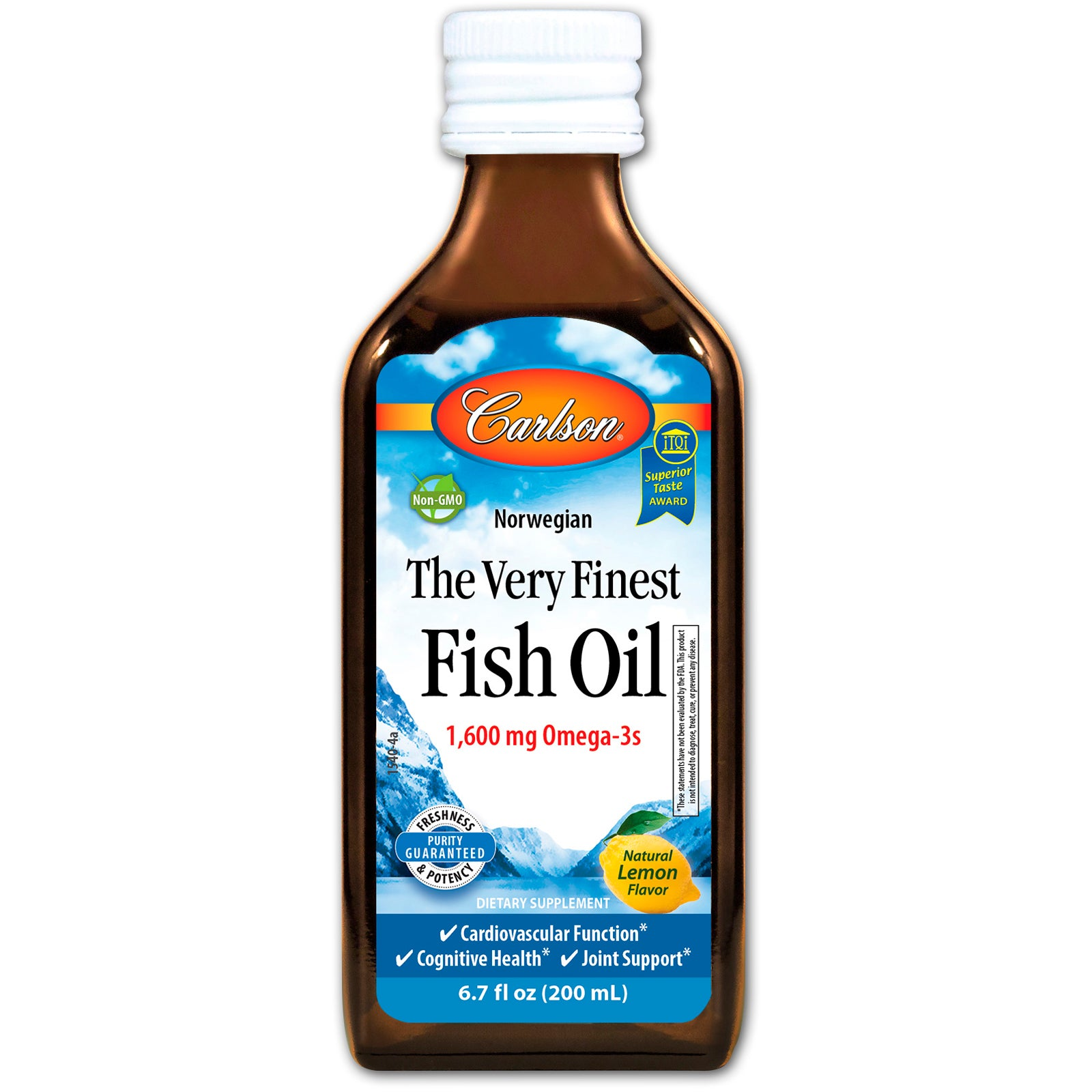Carlson Labs Norwegian The Very Finest Fish Oil - Lemon, 200 ml.-NaturesWisdom