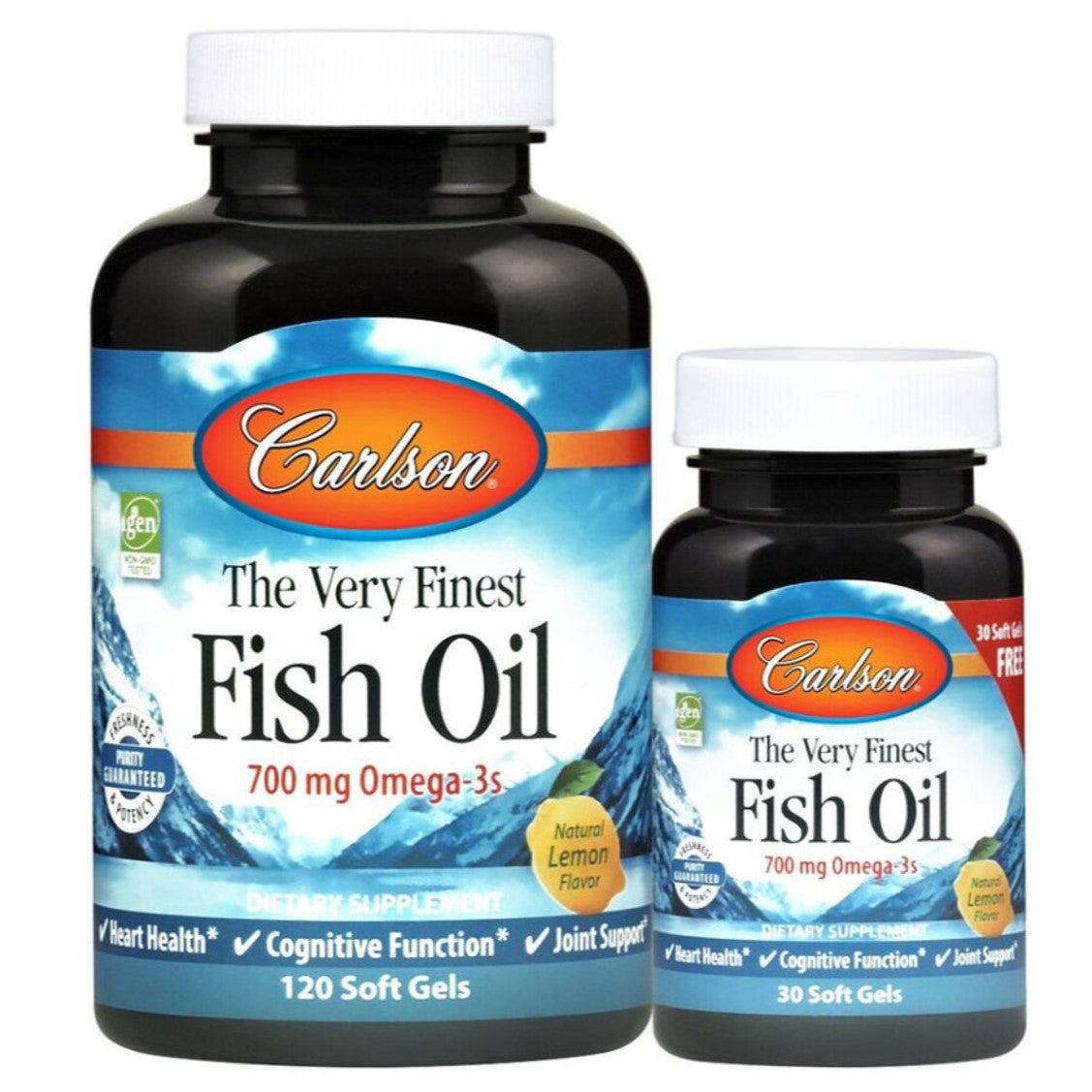 Carlson The Very Finest Fish Oil- Lemon Flavor, 120sgls + Free 30sgls.-NaturesWisdom
