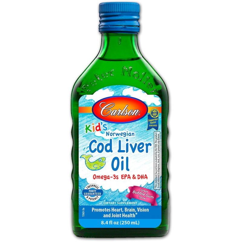Carlson Kid's Norwegian Cod Liver Oil- Bubble Gum, 250ml.-NaturesWisdom