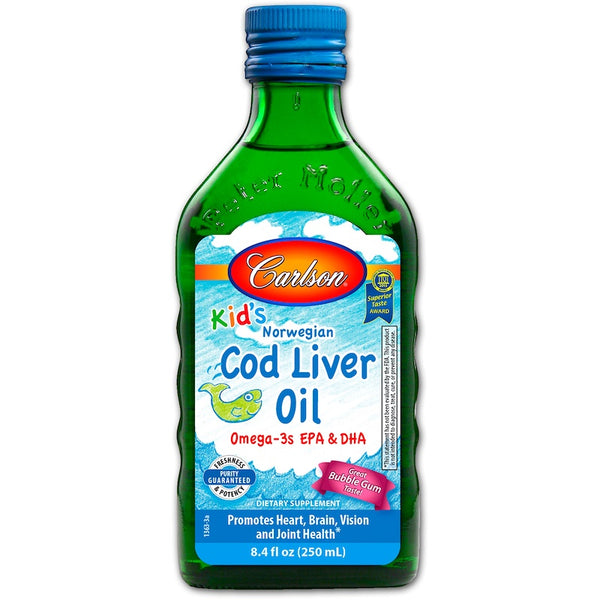 Carlson Kid's Norwegian Cod Liver Oil- Bubble Gum, 250ml.