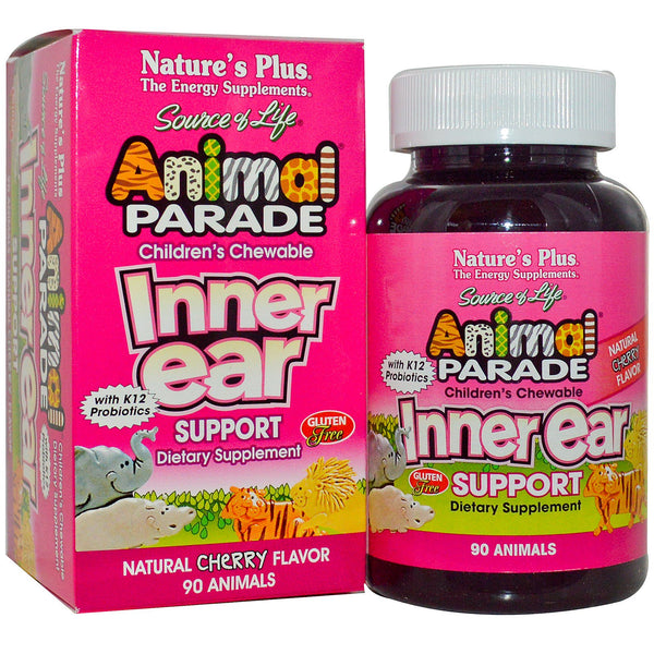 Natures Plus Source of Life Animal Parade Children's Chewable Inner Ear Support, 90 tabs.