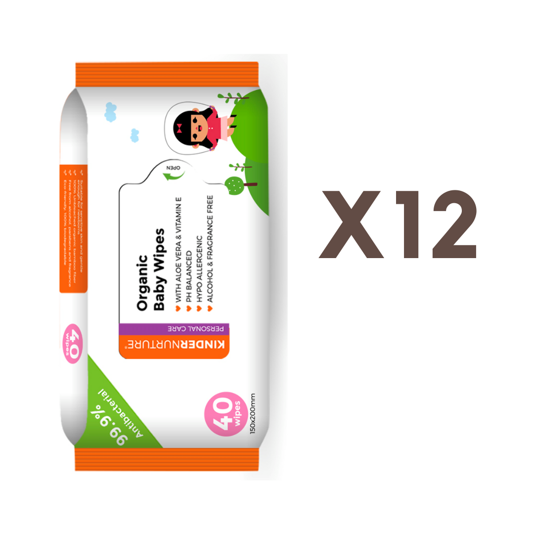 [Bundle of 12] KinderNurture Organic Baby Wipes, 40 wipes - New Batch