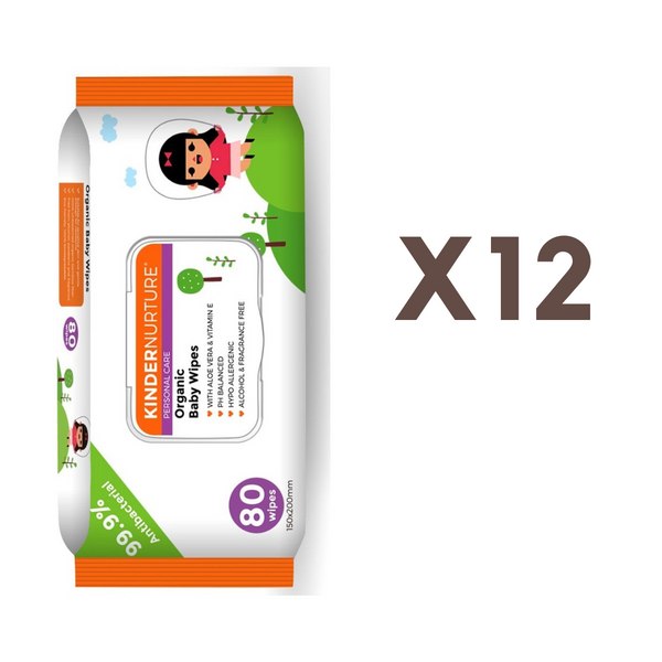 [Bundle of 12] KinderNurture Organic Baby Wipes, 80 wipes - New Batch