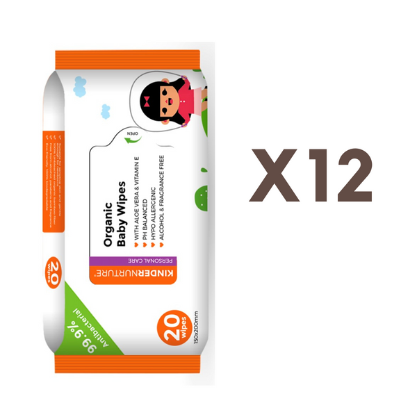 [Bundle Of 12] KinderNurture Organic Baby Wipes, 20 wipes - New Batch