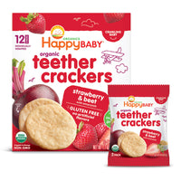 Happy Family Happy Baby Organic Teether Cracker- Strawberry & Beet, 12 x4 g.