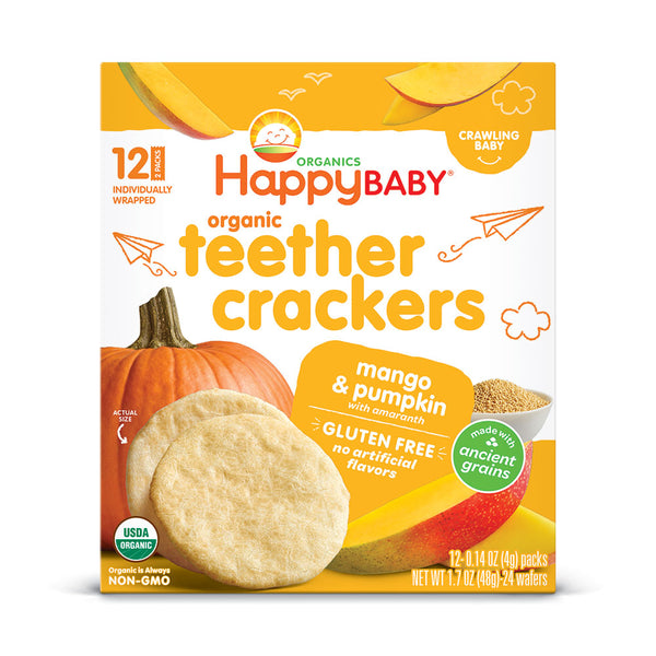 Happy Family Happy Baby Organic Teether Cracker- Mango & Pumpkin, 12 x4 g.