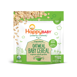 Happy Family Happy Baby Clearly Crafted Cereal Baby Cereal  - Oatmeal, 198g.