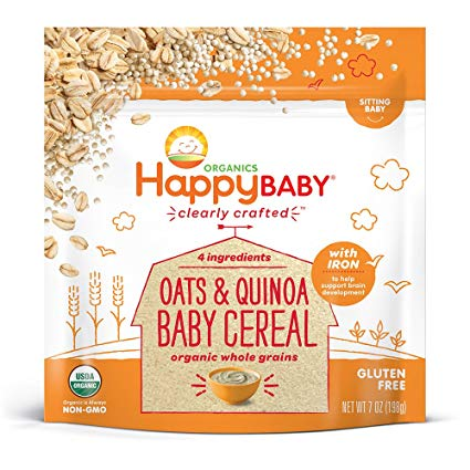 Happy Family Happy Baby Clearly Crafted Cereal Baby Cereal - Oats & Quinoa, 198g.