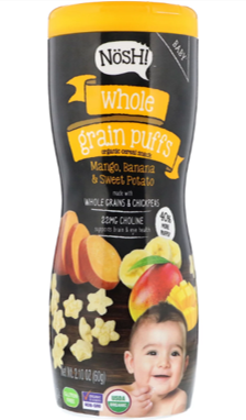 Nosh Whole Grain Puffs- Mango, Banana & Sweet Potato, 60g.