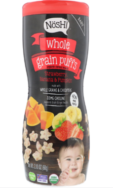 Nosh Whole Grain Puffs- Strawberry, Banana & Pumpkin, 60g.