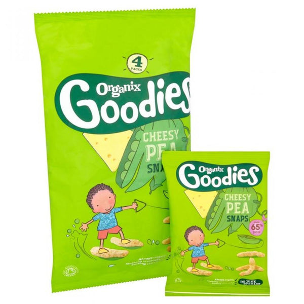 Organix Goodies -Cheesy Pea Snaps, 4 x 15g