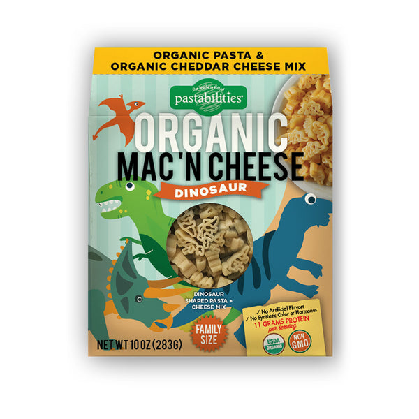 Pastabilities Organic Shaped Pasta (Mac 'N Cheese),Dinosaur, 284g