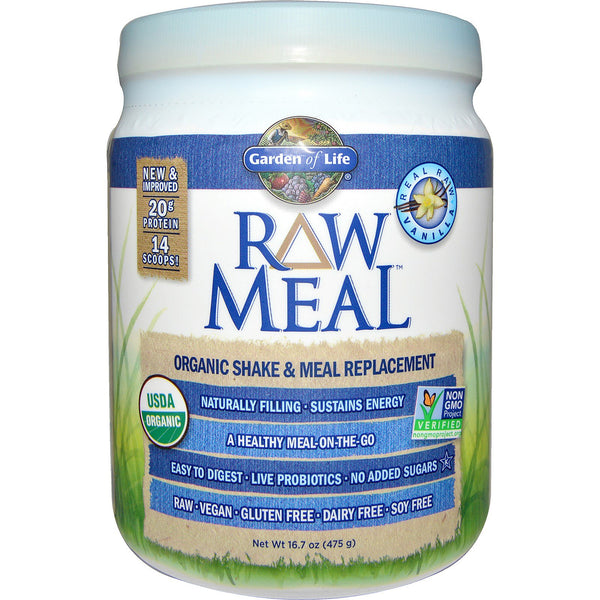 Garden of Life RAW Organic Meal Shake & Meal Replacement Powder Vanilla, 484 g.