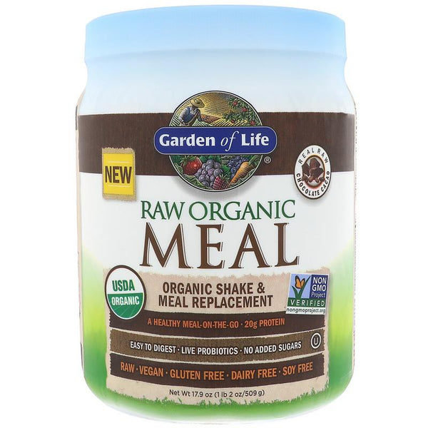 Garden of Life RAW Organic Meal Shake & Meal Replacement Powder Chocolate Cacao, 509 g.