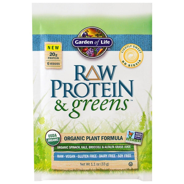Garden of Life RAW Organic Protein & Greens - Lightly Sweet, 31 g (Comes in 10 pkts)